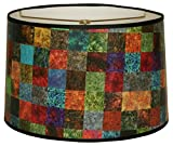 "Royal Designs 10"" Multi-Colored Square Patchwork Designer Hard Back Lampshade Made in the U.S.A. 10 x 10 x 7 (HBC-8008-10)"