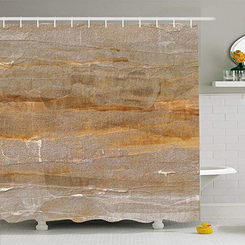 (Ahawoso Shower Curtain 72x72 Inches Dry Brown Tone Light Earth Color Abstract Space Orange Sepia Dirt Dirty Earthy Design Grunge Waterproof Polyester Fabric Set with Hooks)