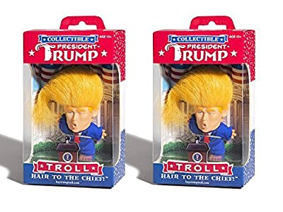 Set of 2 Collectible President Donald Trump Troll Doll - Hair to the Chief bundled by Maven Gifts