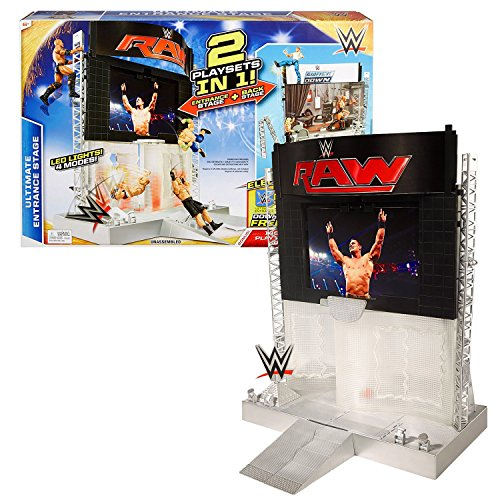 Mattel Year 2015 World Wrestling Entertainment WWE 2 in 1 Electronic Playset - ULTIMATE ENTRANCE STAGE with Back Stage and 4 LED Light Modes by World Wrestling Entertainment