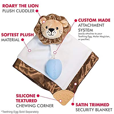 The Teething Egg - Official Product, Made in The USA – 5 Product Bundle in Baby Blue - Includes The Grippie Stick, The Molar Magician, Shell and Roary The Lion Security Blanket: Toys & Games