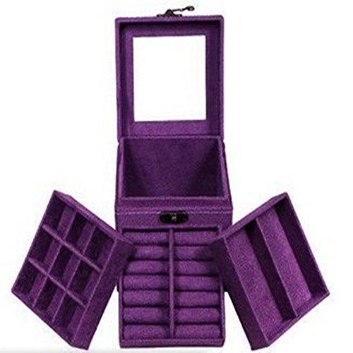 (KLOUD City Purple Three-Layer Lint Jewelry Box/Organizer/Display Storage Case with Mirror)