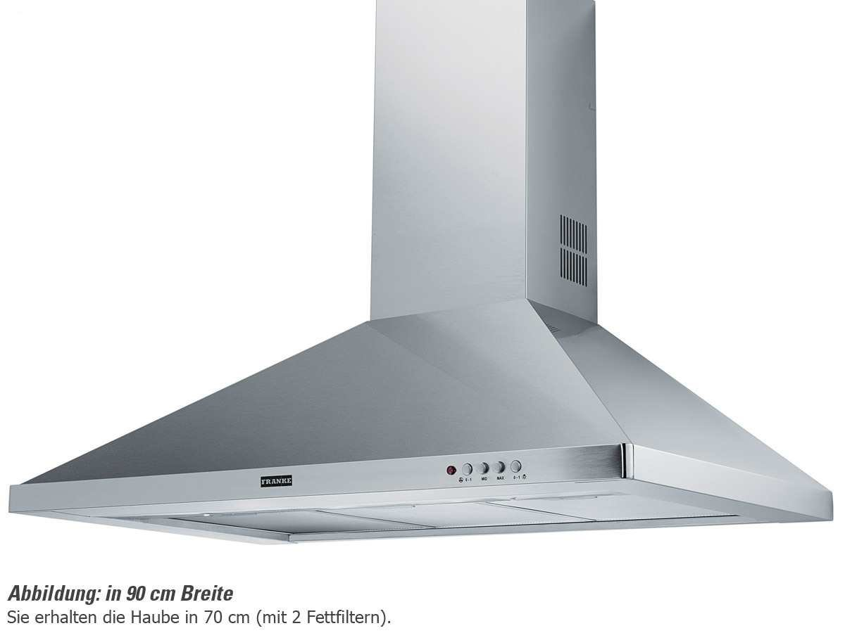 Franke FDL 764 XS - cooker hoods (Wall-mounted, Ducted/Recirculating, E, Incandescent, Stainless steel, Buttons)