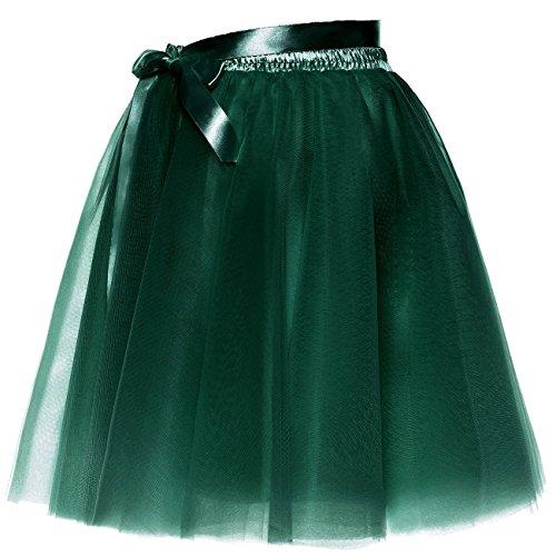 BeiQianE Femmes Short Bowknot Layered Tulle Jupon Slip Party Prom Jupe Sash Amovible Vert Fonc