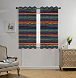 Stylish Window Curtains,Tribal,Striped Retro Aztec Pattern with Rich Mexican Ethnic Color Folkloric Print,Teal Plum and Orange,2 Panel Set Window Drapes,for Living Room Bedroom Kitchen Cafe