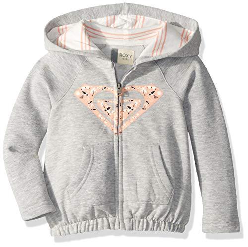 Roxy Girls' Little Lazy Love Zip-Up Sweatshirt, Heritage Heather, 5 ()