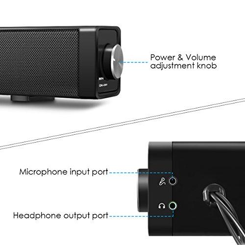EIVOTOR 18'' USB Powered Mini Soundbar Speaker for Computer Desktop Laptop PC, Black by EIVOTOR (Image #5)