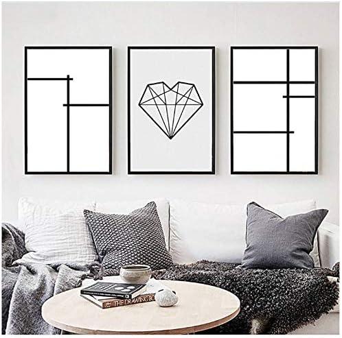 北欧クリエイティブ抽象幾何学ラインカラーブロック3ピースキャンバス絵画壁写真絵画-30x40x3Pcscmフレームなし