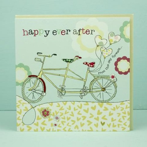 Hand Finished Wedding Card Tandem Bike Design Happy Ever After by Molly Mae