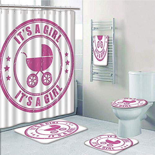 Bathroom Fashion 5 Piece Set shower curtain 3d print,Gender Reveal Decorations,Grunge Its A Girl Stamp Baby Carriage Artistic Newborn Icon Image,Fuchsia,Bath Mat,Bathroom Carpet Rug,Non-Slip,Bath Towl (Tablets 60 Reveal)