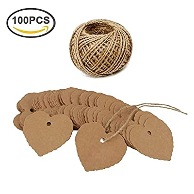 Giveet 100 PCS Kraft Paper Gift Tags with Free Cut String, Candy Box Favor Hang Tags, Wedding Favor Thank You Cards, Christmas Favor Party Supply Blank Cards with 30M Jute Twine(Love Heart, Brown)