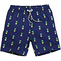 maamgic Mens Big y de altura Piña Swim Trunks con forro de malla larga Boardshorts