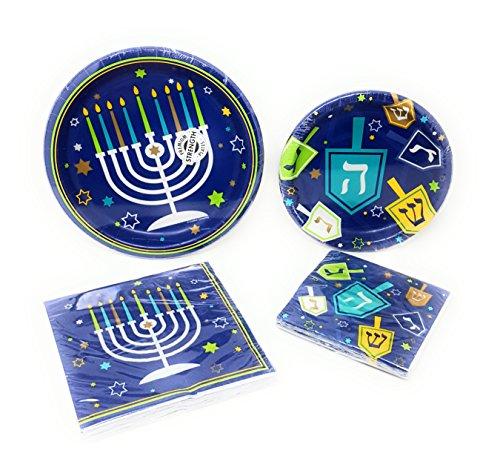 Disposable Plates, Napkins, Hanukkah Themed Icons Party Supplies, 4-Piece Bundle ()
