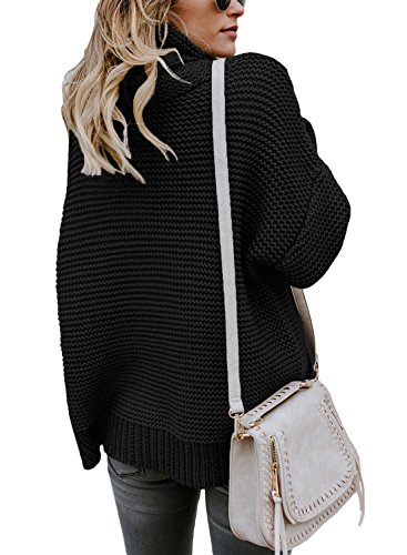 MQ Womens Cowl Neck Sweater Chunky Knitted Jumper Turtleneck Sweater Lose Long Sleeve Pullover (M(US8-10), Black)