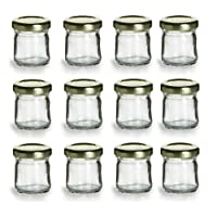 PremiumVials 12 pcs, 1 oz Mini Glass Honey Jars for Jam, Honey, Wedding Favors, Shower Favors, Baby Foods, DIY Magnetic Spice Jars