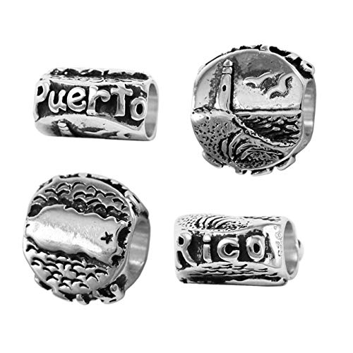 Map Usa Sterling Silver Charm - Puerto Rico - Map and Lighthouse Beach Scene - 925 Sterling Silver Charm Bead - Perfect Summer Beach Vacation Travel Souvenir and Gift