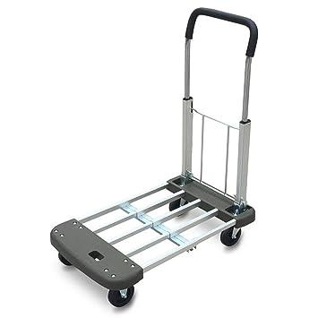 KJZhu Carretilla del transporte en cuatro ruedas, carro de Warehouse Cartucho plegable de la rueda del carro de la fábrica ...