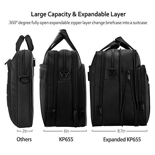 KOPACK Expandable Laptop Briefcase 17 17.3 Inch Large Business Water Resistant Shoulder Computer Bags Black by kopack (Image #1)