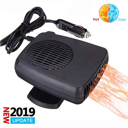 Portable Car Defroster Defogger Heater Fan, 2 in 1 Cooling & Heating Fan Vehicle Electronic Air Heater Defroster 12V 200W Handheld Automobile Windscreen Fan Demister Defroster Into Cigarette Lighter