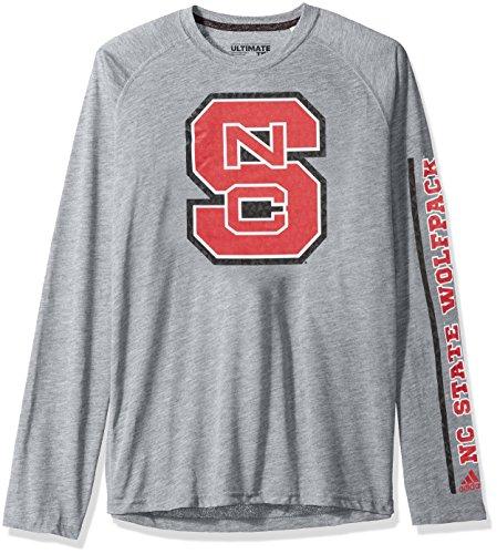 adidas NCAA North Carolina State Wolfpack Adult Men sleeve Play Ultimate L/S Tee, X-Large, Medium Grey Heather