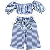 Toddler Girl Stripe Off-Shouler Tube Top + Pant...