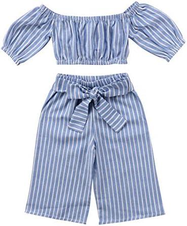 Greenafter Toddler Girl Stripe Off-Shouler Tube Top + Pant Set Outfit