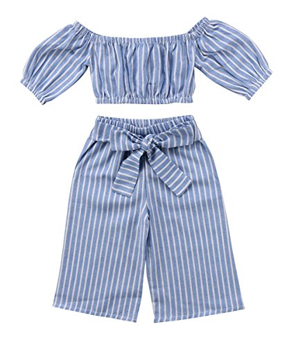 Greenafter Toddler Girl Stripe Off-Shouler Tube Top + Pant Set Outfit (Blue, 2-3Years)