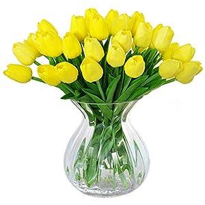 Artificial Tulips, Meiwo 10 Pcs Fake Tulips Flowers for Wedding Bouquets / Home Decor / Party / Graves Arrangement 9