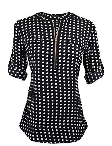 Polka Dot Chiffon Blouse - Oyamiki Women's Loose V Neck Polka Dot Shirt Casual Cuffed Long Sleeve Chiffon Blouses Black/M