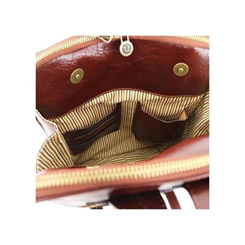 Tuscany Leather - Taipei - Rucksack aus Leder mit 3 Fächer Honig - TL141239/3 Dunkelbraun