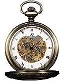 HELMASK pocket watch - Alloy Bronze Round mens Analog Mechanical Hand-winding Half hunter Pocket Watch