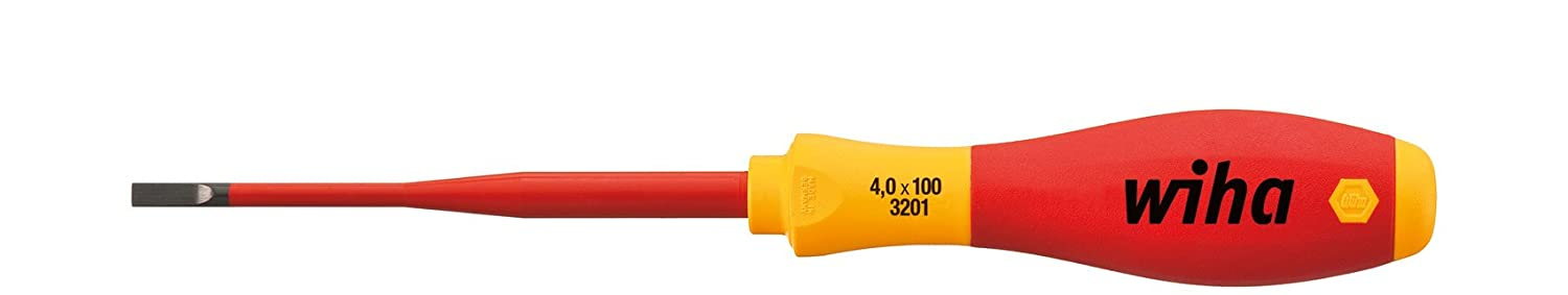 Wiha 3.5 x 100mm Slim Fix VDE Screwdriver Slotted