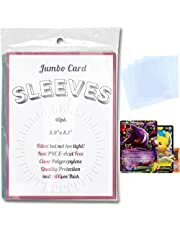 DOUBLED UP - 40 Pack Jumbo Pokemon Card Sleeves Fitted for Large Oversized Trading Cards Games and Big Photos with Premium Quality Clear Thermo Plastic Protection | 4mil / 100 Microns Thick