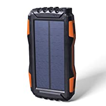 Soluser 25000mAh Portale Solar Power Bank Shockproof/Dustproof 2.1A USB Output Battery Bank, Outdoor Solar Charger Phone External Battery Chargers with Strong LED light for iPad iPhone Android cellphones