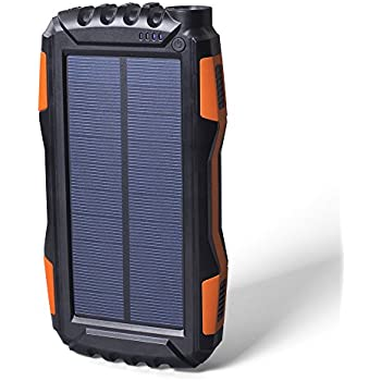 Soluser 25000mAh Portale Solar Power Bank Shockproof/Dustproof 2.1A USB Output Battery Bank, Outdoor Solar Charger Phone External Battery with Strong LED light for iPad iPhone Android cellphones