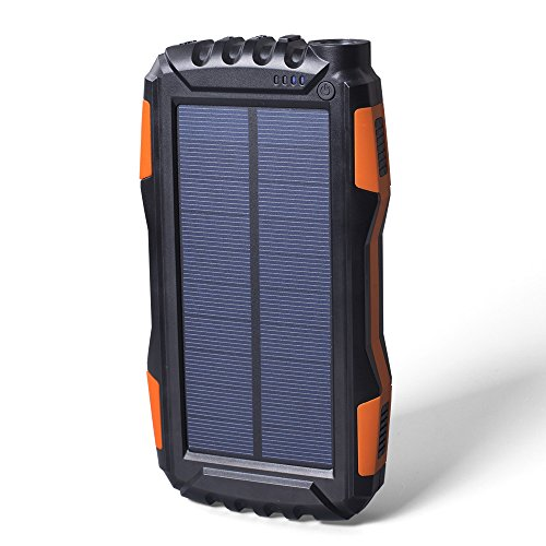Elzle 25000mAh mobile or portable Solar potential Bank dual USB outcome Battery Bank as a result of strong LED light, Outdoor Solar Charger cellphone External Battery Shockproof/Dustproof for iPhone Series,Smart Phone,More