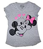 Disney Classic Mickey & Minnie Mouse Womens Pajama T Shirt Top - Grey