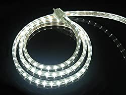Cbconcept Ul Listed 65 Feet 7200 Lumen 6000k Pure White Dimmable 110 120v Ac Flexible Flat Led Strip Rope Light 1200 Units 3528 Smd Leds Indoor Outdoor Use Accessories Included Ready To Use