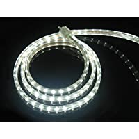 CBConcept UL Listed, 10 Feet, 1080 Lumen, 6000K Pure White, Dimmable, 110-120V AC Flexible Flat LED Strip Rope Light, 180 Units 3528 SMD LEDs, Indoor Outdoor Use, Accessories Included, Ready to use