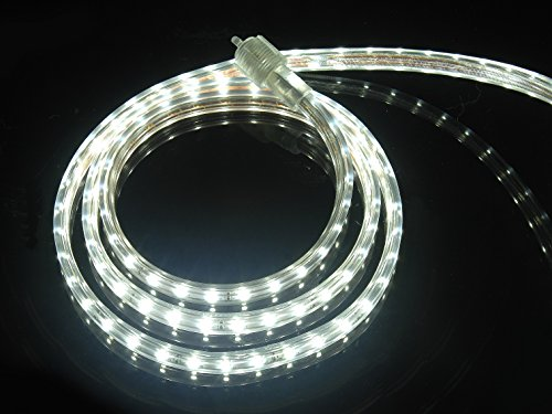 (CBConcept UL Listed, 100 Feet, 10100 Lumen, 6000K Pure White, Dimmable, 120V AC Flexible Flat LED Strip Rope Light, 1830 Units 3528 SMD LEDs, Indoor/Outdoor Use, Accessories Included, [Ready to use] )