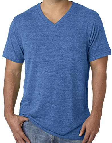 (Mens Tri Blend V-Neck Tee Shirt, XL True Royal)