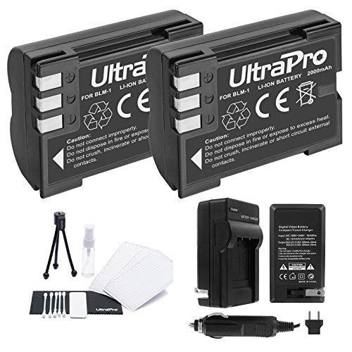 BLM-1 Battery 2-Pack Bundle with Rapid Travel Charger and UltraPro Accessory Kit for Select Olympus Cameras Including E-300, E-330, E-500, E-510, E-510, and - Battery 1 Digital Camera Charger