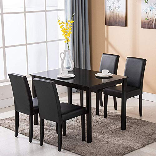 Mecor 5 Piece Dining Table Set Wood Table/4 Leather Chairs Kitchen Room Breakfast Furniture(Black) - Dining Dinette Set