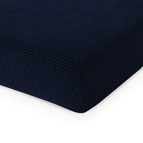 - CHUN YI Jacquard Cushion Covers High Stretch Loveseat Slipcover Furniture Protector for Sofa Settee and Couch Seat Coat(Chair, Dark Blue)