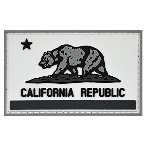 LIVABIT PVC Rubber 3D Morale Patch MP-55 Tactical Airsoft Paintball California State Flag Gray