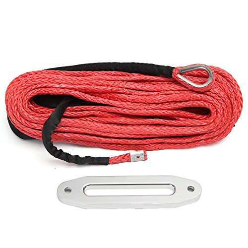 NeDonald 12MMX30M 12000lbs Synthetic Rope Winch Cable Anchor Red with Hawse Fairlead