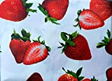 Vinyl Felt Backed Tablecloth, Thicker, Last Longer, Stain Resistant for Indoor and Outdoor - Strawberry Theme (ROUND 60)