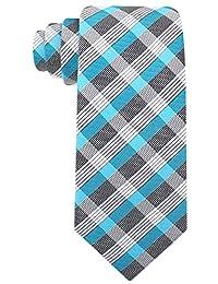 Scott Allan Mens Stripe Necktie - Turquoise/Gray