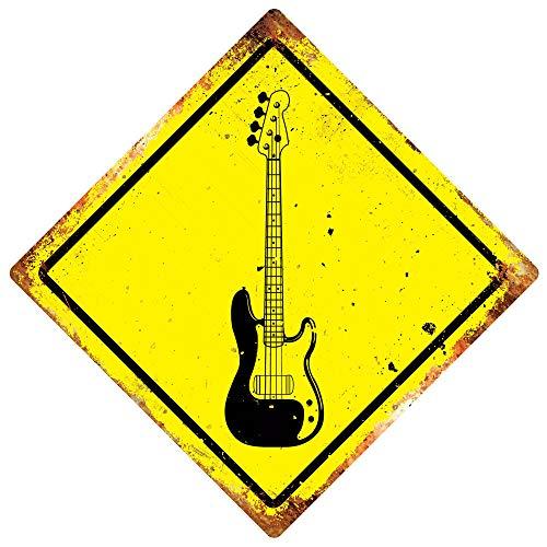 PotteLove Bass Guitar -Diamond Metal Wall Sign Plaque Art- Band Music Metal Death Goth Jam