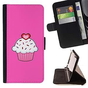 PINK VALENTINES SWEET CUPCAKE LOVE PASTRY/ Personalizada del estilo del dise???¡Ào de la PU Caso de encargo del cuero del tir????n del soporte d - Cao - For HTC One M7